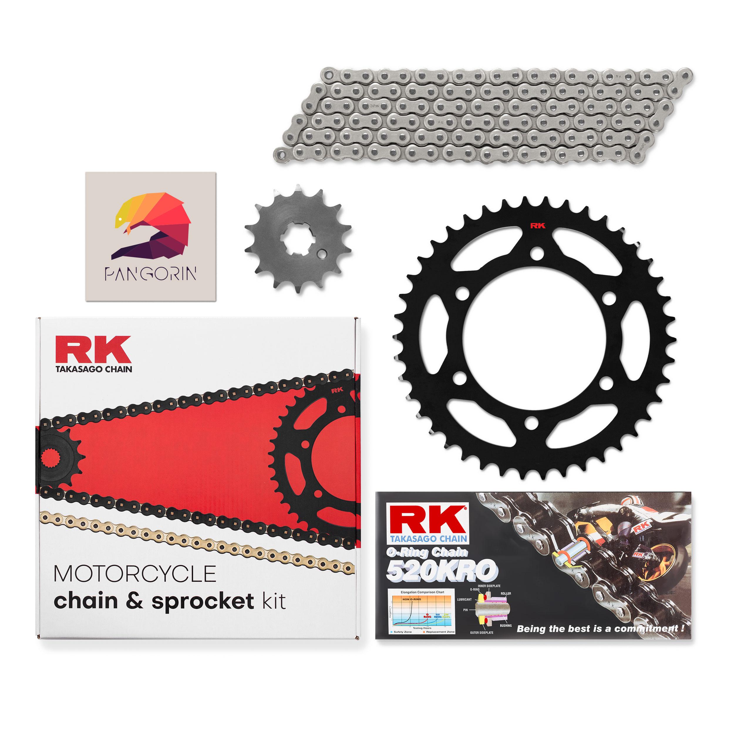 RK Chain - Nhông Sên Dĩa Kawasaki Z300 - Sên KRO O-ring Không Màu