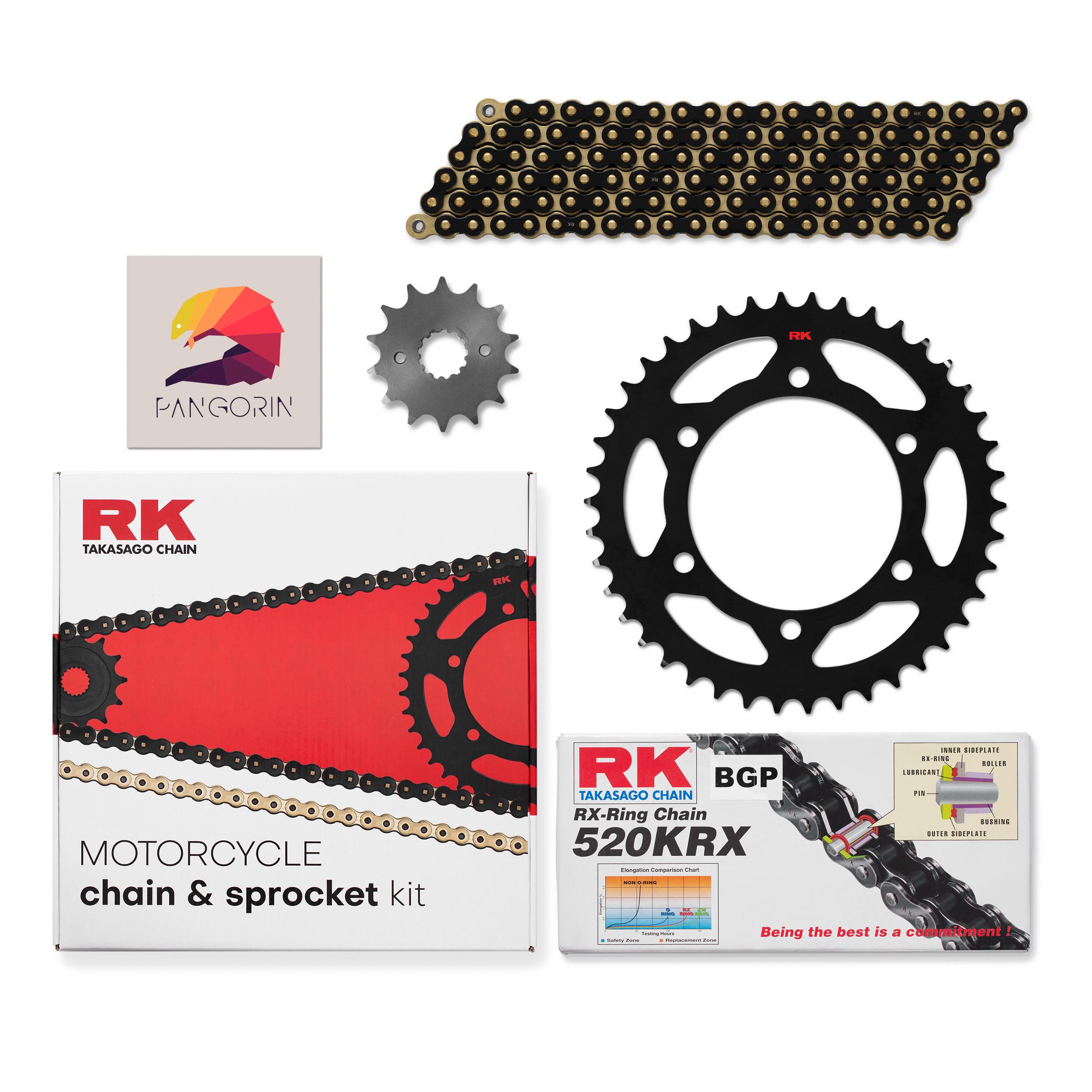 RK Chain - Nhông Sên Dĩa Kawasaki Z300 - Sên KRX X-ring Vàng Đen (Black/Gold)